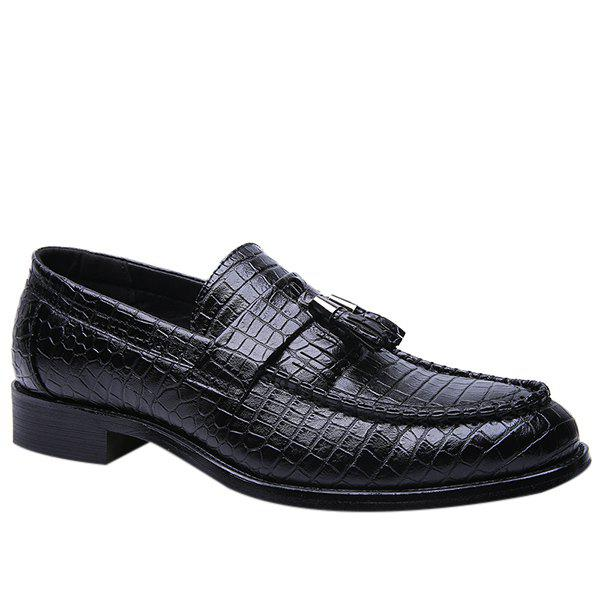 Retro Tassel and Embossing Design Men's Casual Shoes - BLACK 42