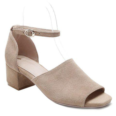 Fashion Suede and Chunky Heel Design Women's Sandals - LIGHT BROWN 39