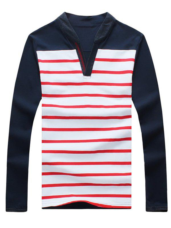 Casual Striped Splicing V-Neck Long Sleeves Men's T-Shirt - RED XL