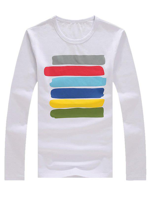 Men's Casual Colorful Striped Long Sleeves T-Shirt - WHITE XL
