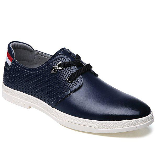 Stylish Striped and Metal Design Men's Casual Shoes - DEEP BLUE 39