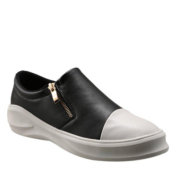 Concise Zip and Color Block Design Men's Casual Shoes - 41 WHITE/BLACK