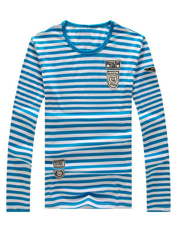 Men's Casual Striped Long Sleeves T-Shirt - AZURE XL