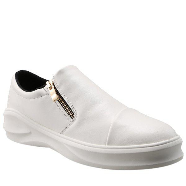 Concise Zip and Solid Color Design Men's Casual Shoes - WHITE 44