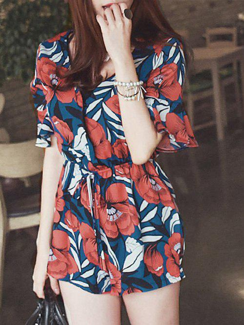 Stylish Womne's Plunging Neck Half Sleeves Floral Print Romper - RED ONE SIZE(FIT SIZE XS TO M)