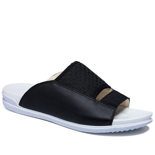 Casual Splicing and Solid Color Design Men's Slippers - BLACK 43