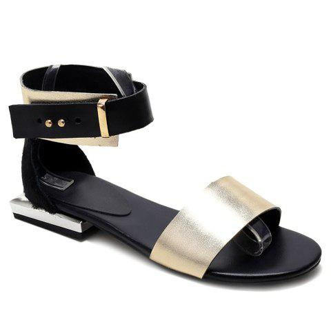 Trendy Solid Color and Flat Heel Design Women's Sandals - GOLDEN 39