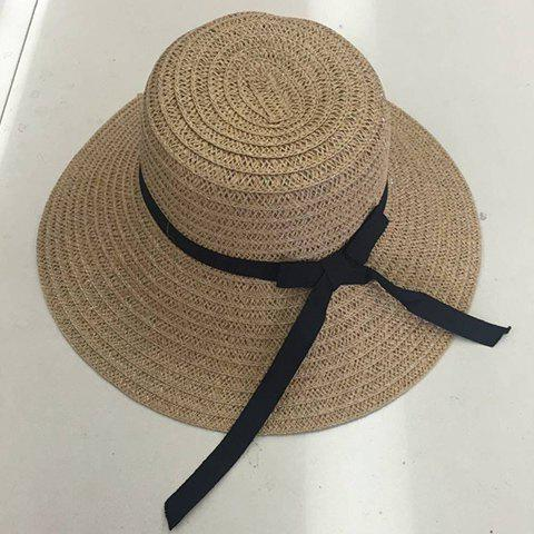 Chic Black Slender Lace-Up Hot Summer Outdoor Women's Straw Hat - KHAKI