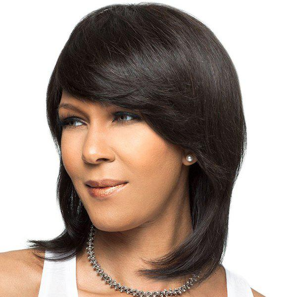 Vogue Medium Straight Synthetic Black Side Bang Capless Wig For Women - BLACK