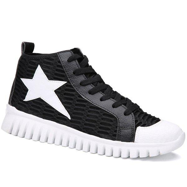 Trendy Color Block and Star Pattern Design Men's Casual Shoes - BLACK 41