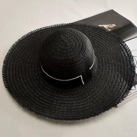 Chic Lace-Up Wide Brim Cool Summer Outdoor Women's Black Straw Hat - BLACK