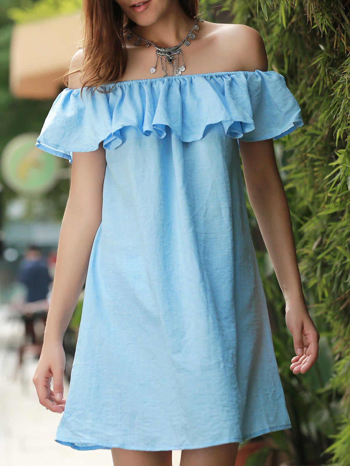 Mini Off The Shoulder Ruffle Dress - BLUE S