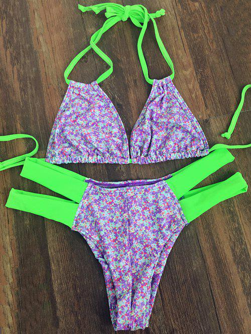 Sweet Halter Neck Tiny Floral Print Women's Bikini Set - PURPLE L