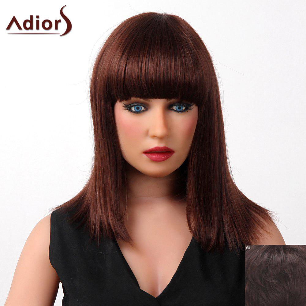 Elegant Medium Capless Human Hair Silky Straight Full Bang Adiors Wig For Women
