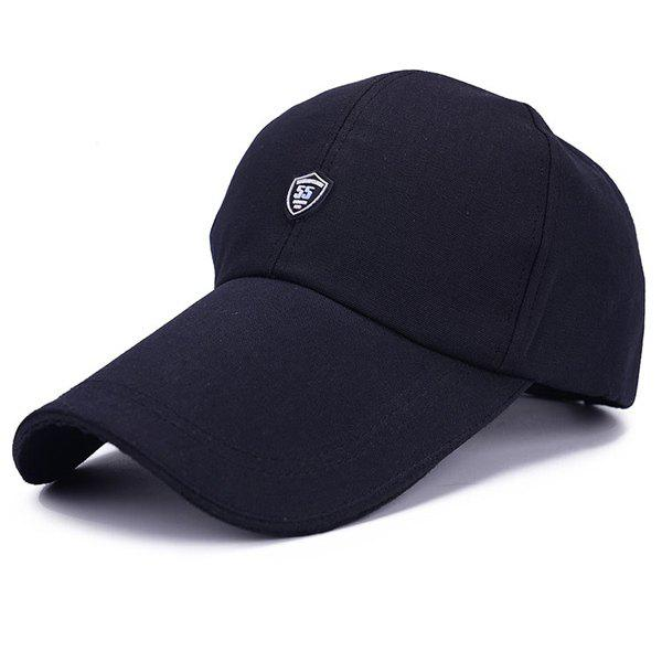 Stylish Numbers Shield Shape Embellished Men's Baseball Cap - BLACK