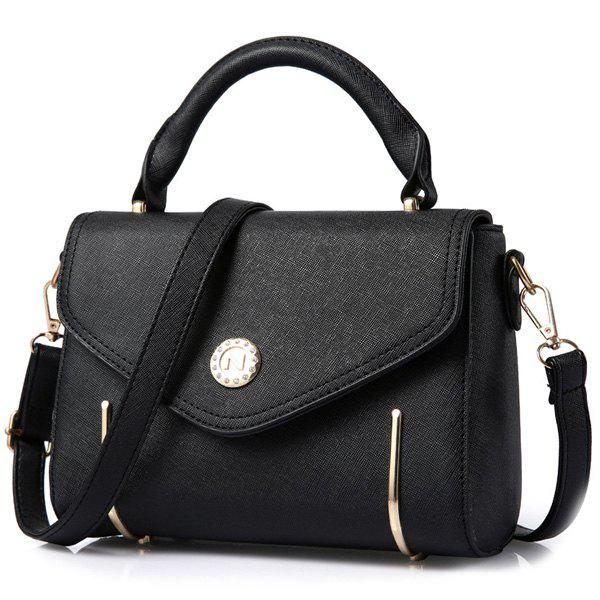 Simple Metal and Solid Colour Design Women's Tote Bag - BLACK