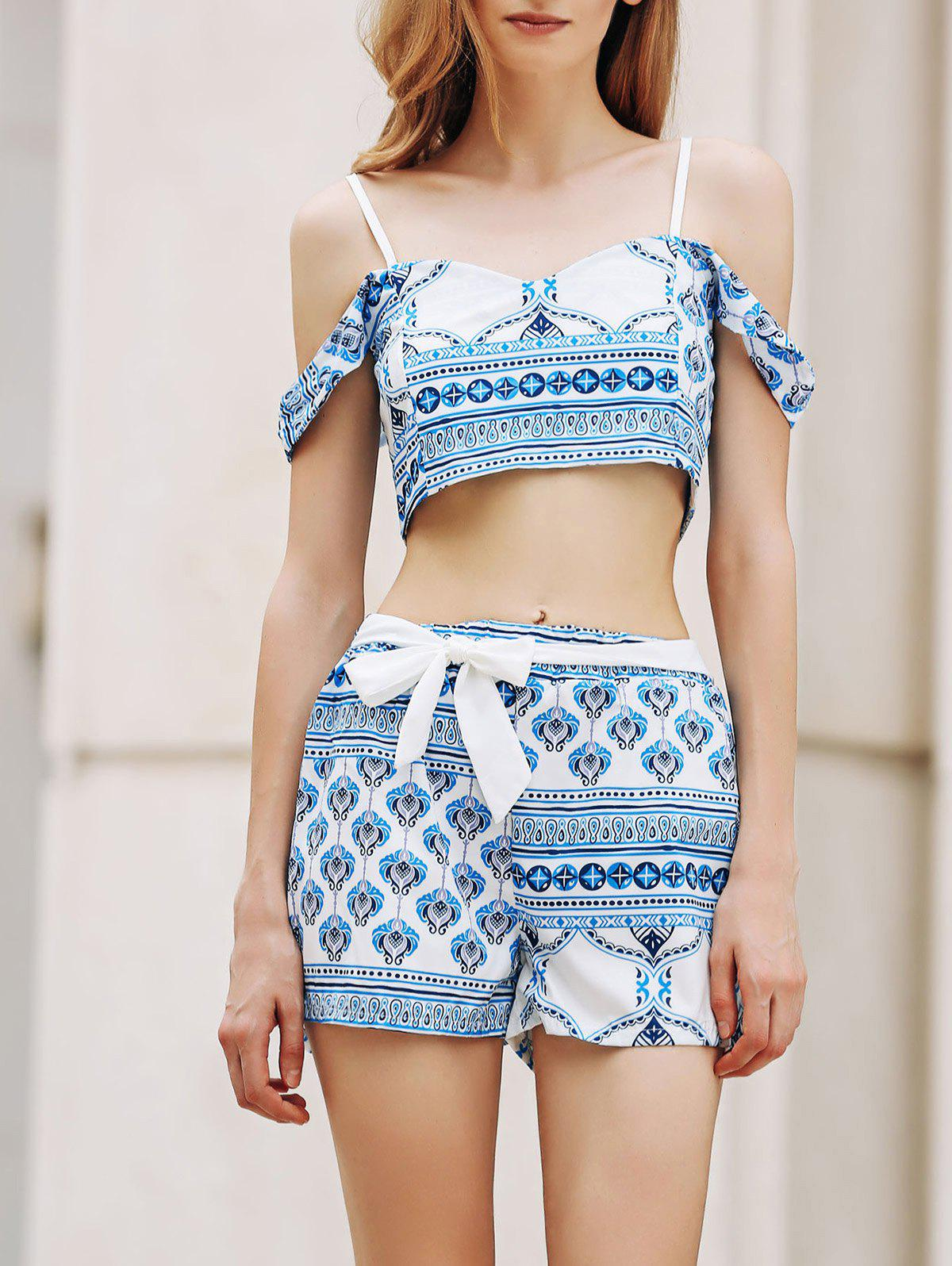 Trendy Spaghetti Straps Crop Top and Printed Shorts Twinset For Women - BLUE/WHITE XL