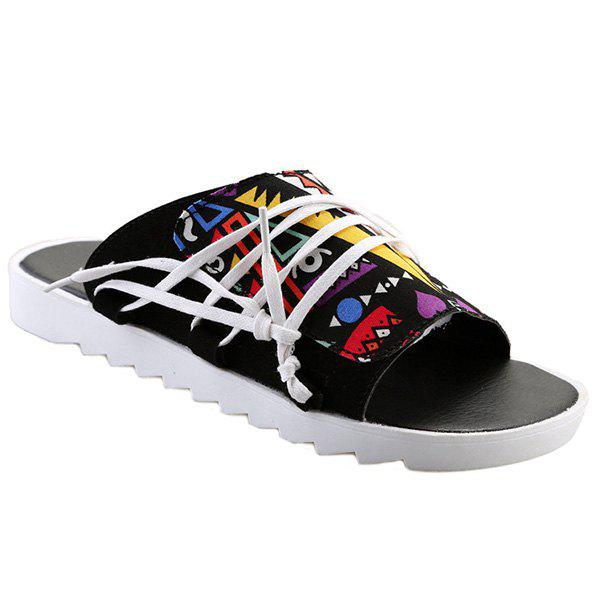 Stylish Multicolor and Graffiti Pattern Design Men's Slippers