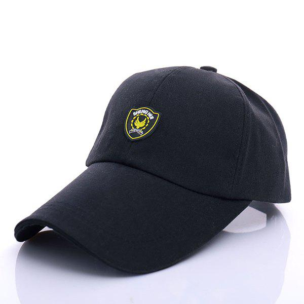 Stylish Shield Shape Labelling Embellished Men's Baseball Cap - BLACK