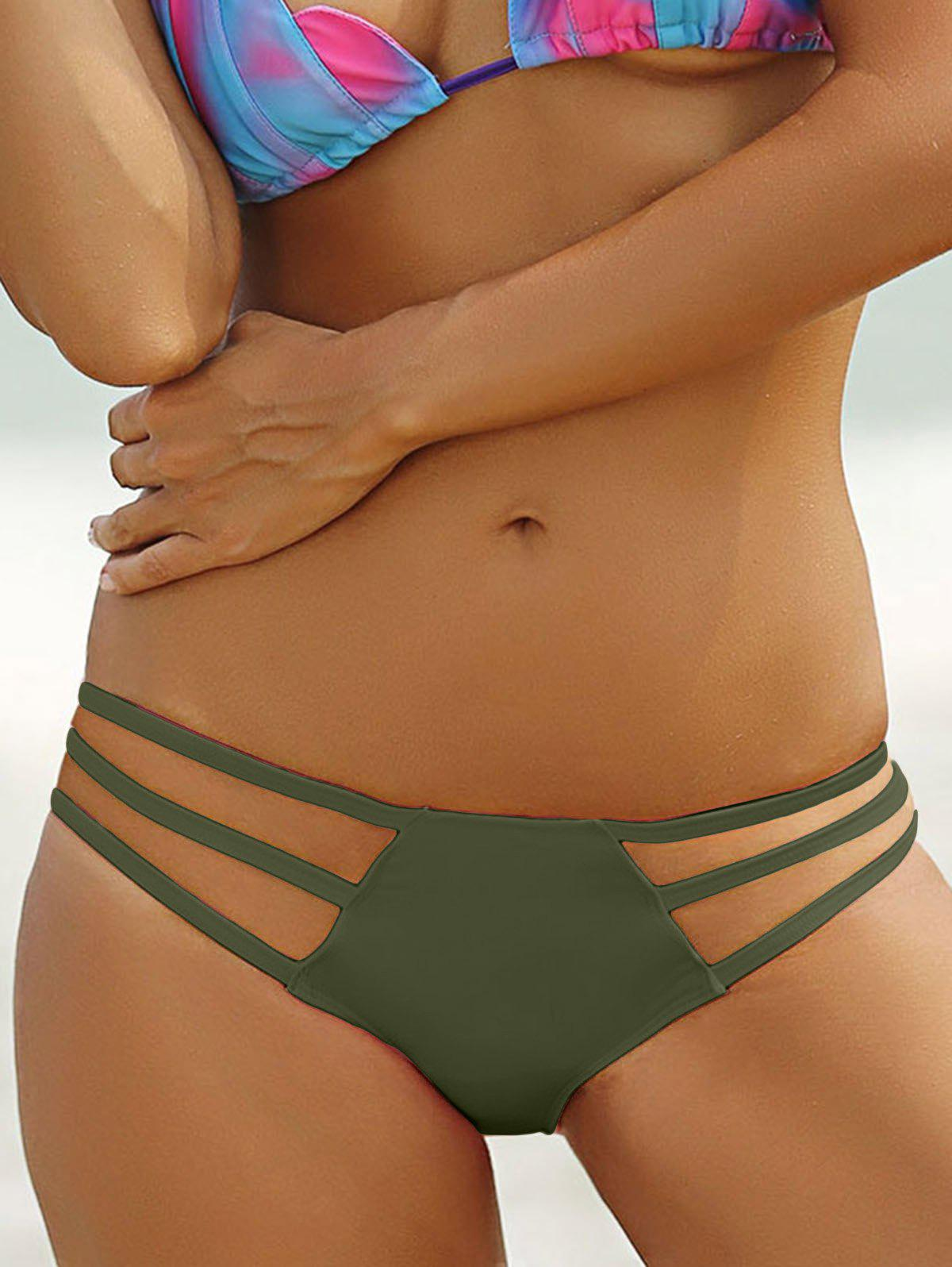 Stylish Solid Color Hollow Out Briefs For Women - ARMY GREEN L