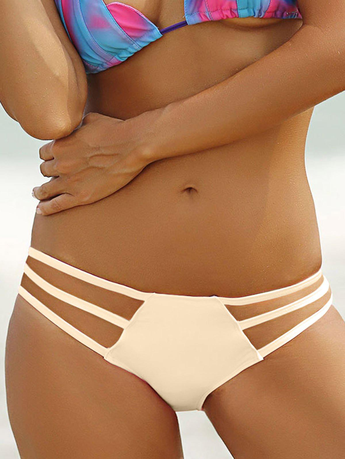 Stylish Solid Color Hollow Out Briefs For Women - COMPLEXION S