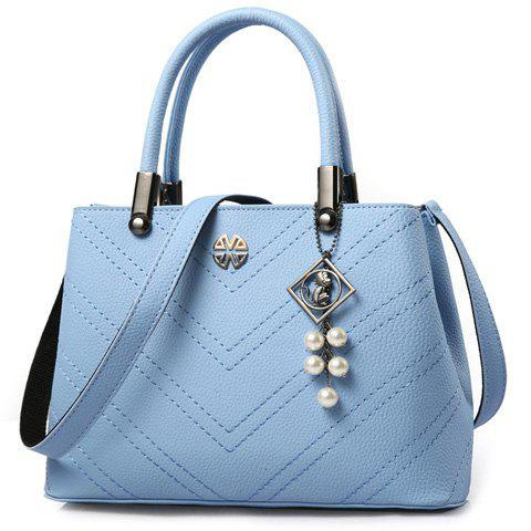 Office Lady Stitching and Pendant Design Women's Tote Bag - LAKE BLUE