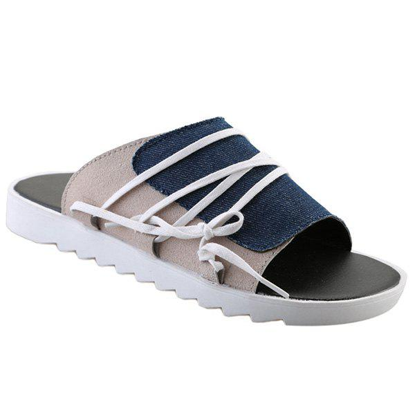 Leisure Color Block and Canvas Design Men's Slippers - BLUE 40