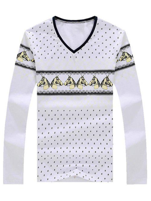 Men's Casual Horse Printed Long Sleeves T-Shirt - WHITE XL