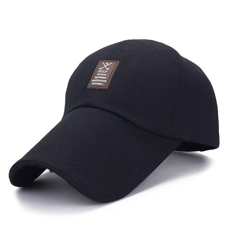 Stylish Rectangle Labelling Embellished Outdoor Sport Men's Baseball Cap - BLACK
