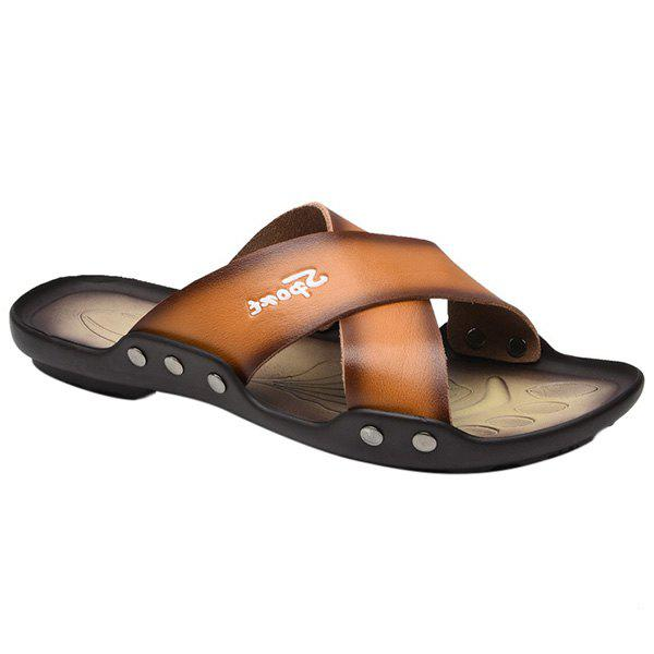 Leisure PU Leather and Metal Design Men's Slippers - LIGHT BROWN 43