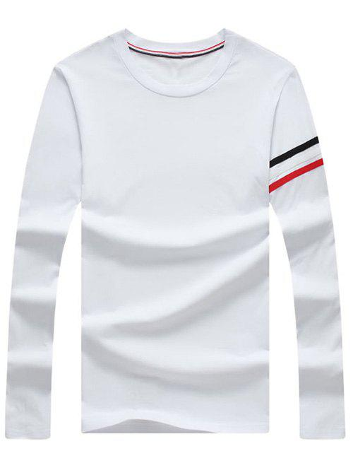 Men's Casual Stripe Printed Long Sleeves T-Shirt - WHITE XL