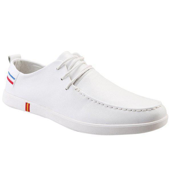 Fashionable Stripes and Lace-Up Design Men's Casual Shoes - WHITE 40