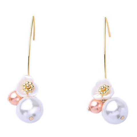 Floral Faux Pearl Hook Earrings - WHITE
