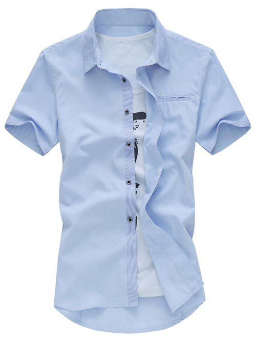 Plus Size Turn-Down Collar Solid Color Short Sleeve Casual Shirt For Men - LIGHT BLUE 5XL