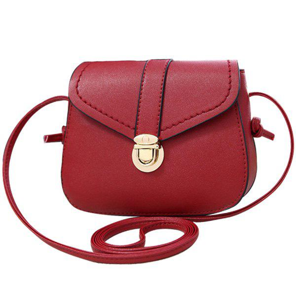 Concise Push Lock and Solid Color Design Women's Crossbody Bag - WINE RED