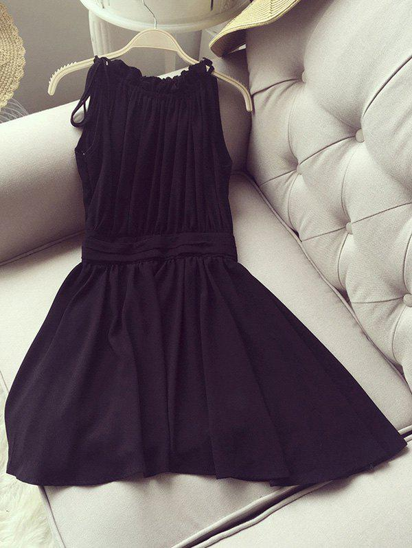 Elegant Womens Jewel Neck Sleeveless Shirred Flare DressWomen<br><br><br>Size: L<br>Color: BLACK
