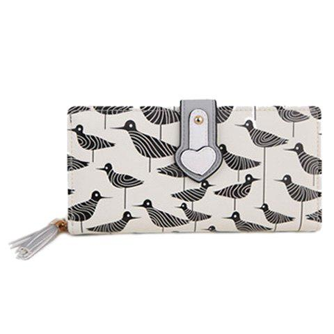 Casual Print and Color Block Design Women's Clutch Wallet - WHITE/BLACK