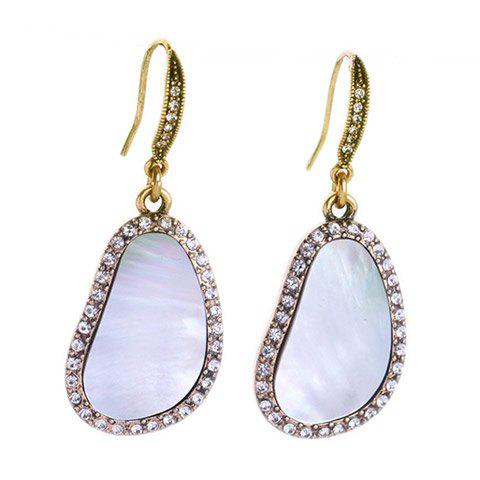 Pair of Faux Gem Irregular Shape Drop Earrings - WHITE