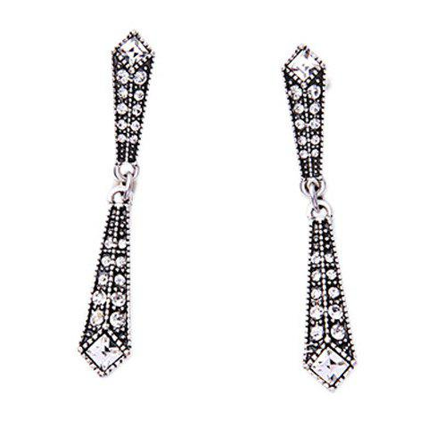 Pair of Rhinestone Geometric Earrings - SILVER