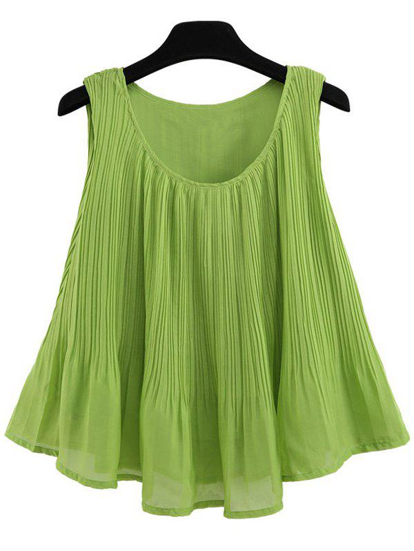 A Line Pleated Chiffon Tank TopWomen<br><br><br>Size: M<br>Color: GREEN
