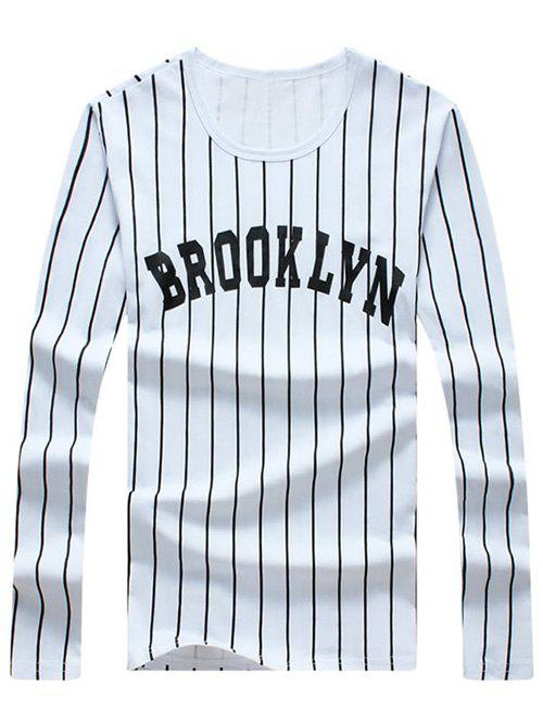 Men's Casual Stripe Letter Printed Long Sleeves T-Shirt - WHITE XL