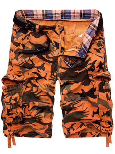 Loose-Fitting Camouflage Print Multi-Pockets Zipper Fly Straight Leg Men's Cargo Shorts - JACINTH 32