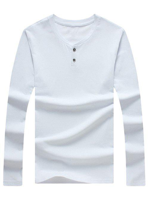 Men's Casual Solid Color Long Sleeves T-Shirt - WHITE XL