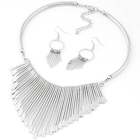 A Suit of Geometric Water Drop Necklace and Earrings - SILVER