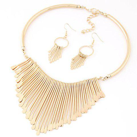A Suit of Water Drop Geometric Alloy Necklace and Earrings - GOLDEN