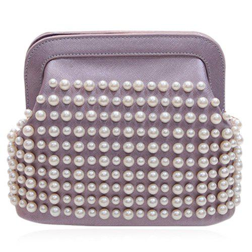 Sweet Chain and Faux Pearls Design Women's Crossbody Bag -  LIGHT PURPLE