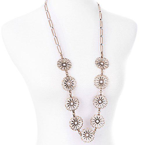 Chic Hollow Out Flower Shape Embellished Women's Necklace - GOLDEN