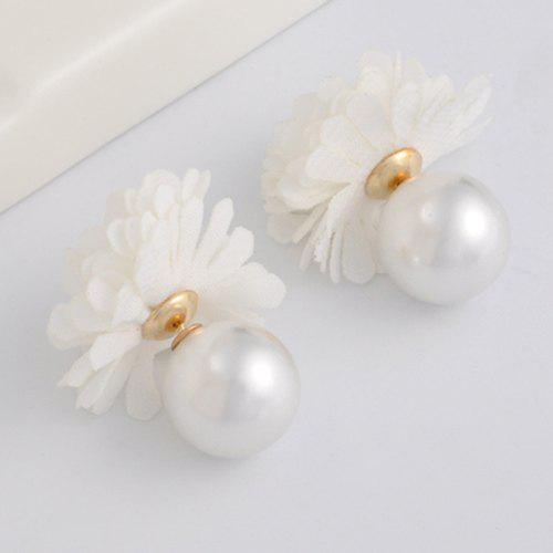 Pair of Gorgeous Faux Pearl Flower Earrings Jewelry For Women - WHITE