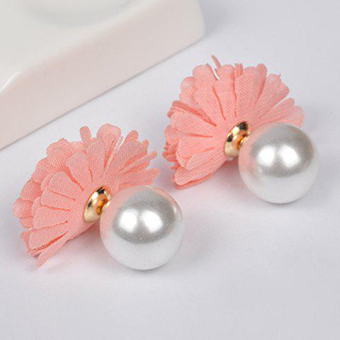 Pair of Chic Faux Pearl Flower Earrings Jewelry For Women - PINK