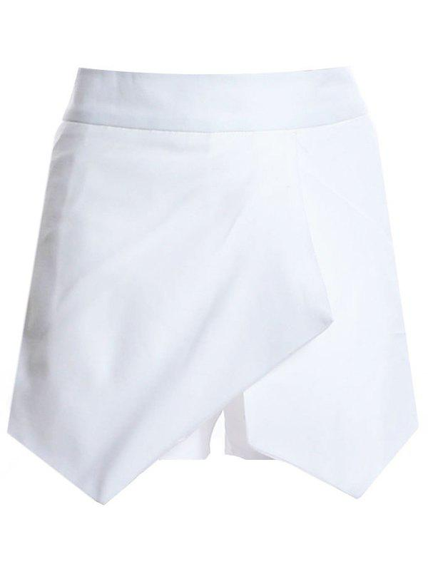Casual Women's Mid Waist Asymmetrical Design Solid Color Shorts - WHITE S